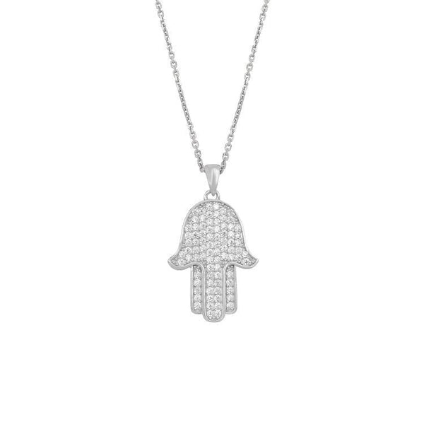 Ari&Lia Single & Trendy Sterling Silver Hamsa Pendant With Cubic Zirconia 11024-SS