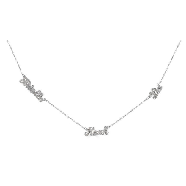 Ari&Lia Single & Trendy Sterling Silver Script Mini Name Necklace With Diamonds NP90043-SCRIPT-Diam-SS