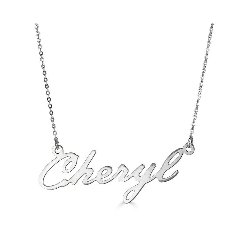 Ari&Lia Single & Trendy Sterling Silver Single High Polish Script Cheryl NP30539-SS