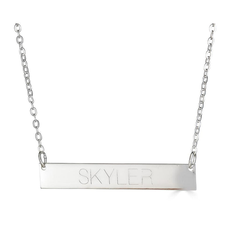 Ari&Lia Trendy Sterling Silver Bar Necklace With Engraving NP90651-SS