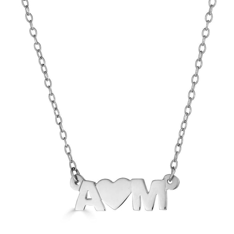 Ari&Lia Trendy Sterling Silver Initial Heart Initial Necklace NP10074-SS