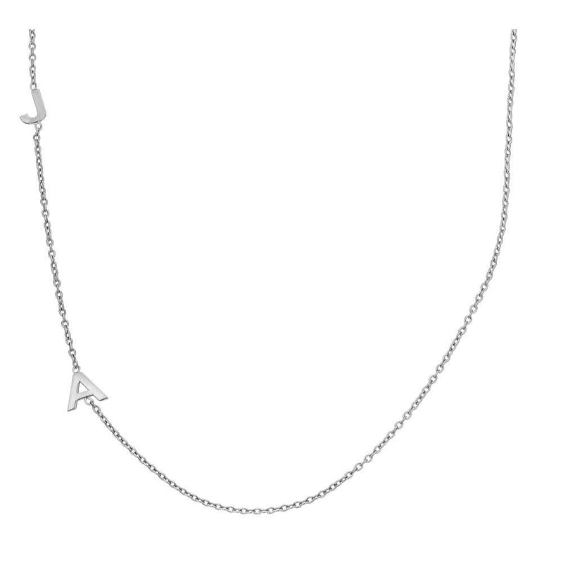Ari&Lia Trendy Sterling Silver Vertical Initial Necklace NP90655-SS