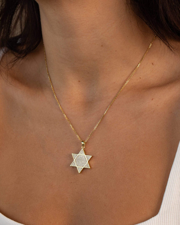 Ari&Lia Trendy Star Of David Necklace with Cubic Zirconia