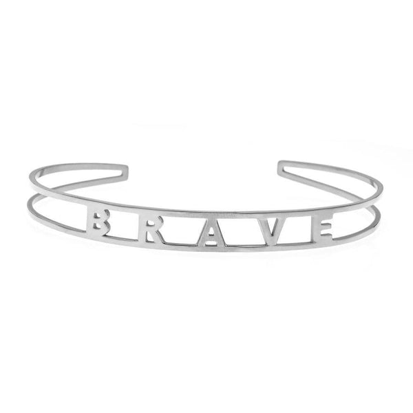 Ari&Lia Empowered Bangles White Brave Adjustable Empowered Bangle ST5059-BRAVE-1