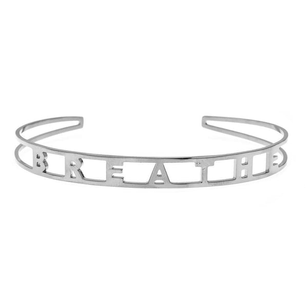 Ari&Lia Empowered Bangles White Breathe Adjustable Empowered Bangle ST5059-BREATHE