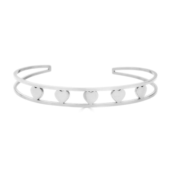 Ari&Lia Empowered Bangles White Five Hearts Empowered Cuff Bangle ST5059-FIVE HEARTS-SS