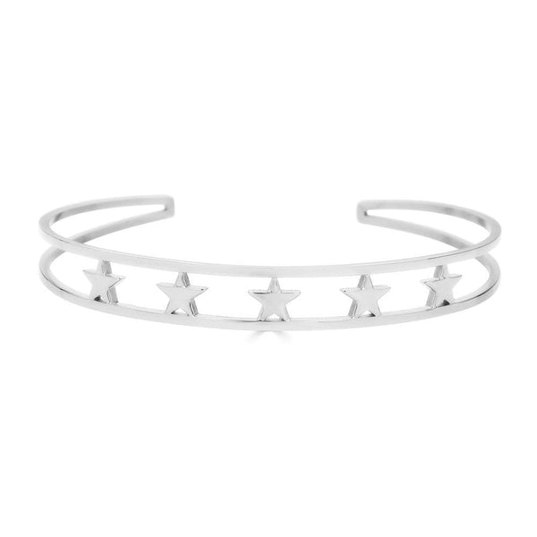Ari&Lia Empowered Bangles White Five Stars Empowered Cuff Bangle ST5059-5 STARS-SS