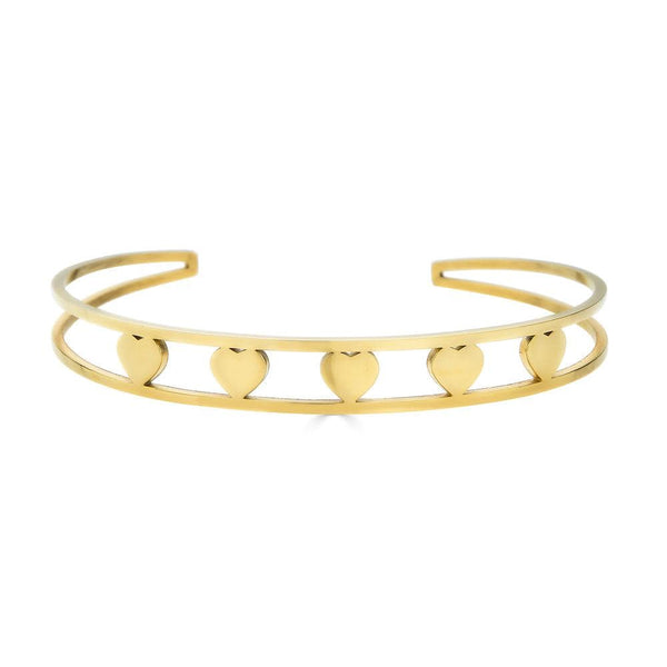 Ari&Lia Empowered Bangles Yellow Five Hearts Empowered Cuff Bangle ST5059-FIVE HEARTS-GPSS