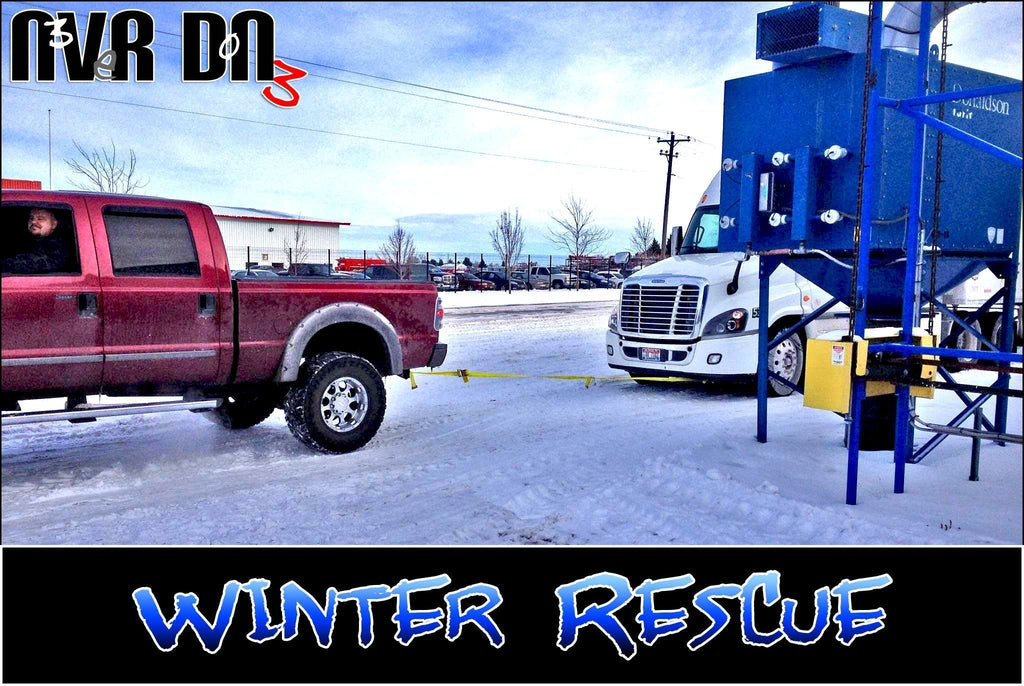 Winter Rescue - Pickup Tugs a Semi From The Snow