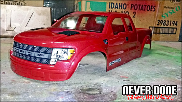 Red Ford Raptor RC body 1/10th scale