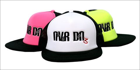 Never Done Snapback hats white, pink and yellow