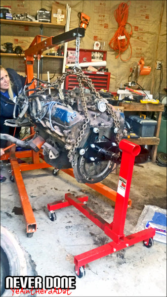 Bronco 460 swap engine going on engine stand