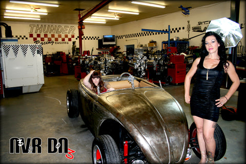 Never Done Girls Sharlie and Brielle in a custom VW Rat Bug