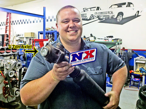 Clint Grover with broken driveshaft from nitrous burnout gone wrong