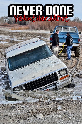 78-79 Ford Bronco stuck in ice being towed by Chevy pickup