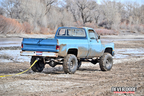"1981 Chevy lifted on 36"" Super Swamper TSL's off road"