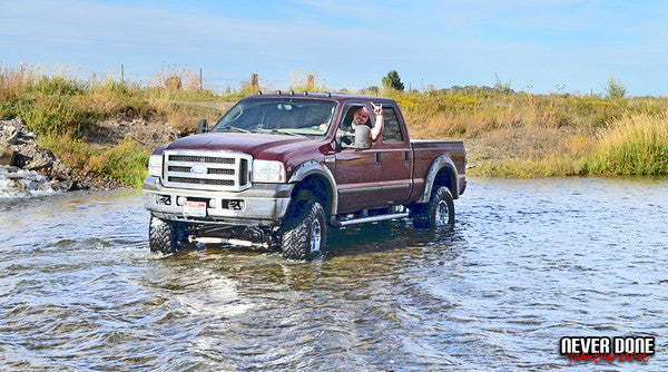 Ford Super Duty crossing river with Clint Grover driving - Never Done