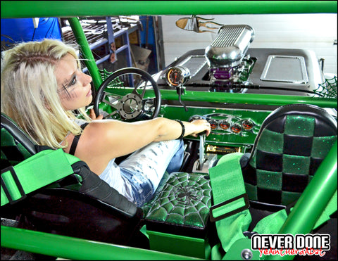Never Done Girl Belinda inside a custom green and black CJ-2A from The Upholstery Center