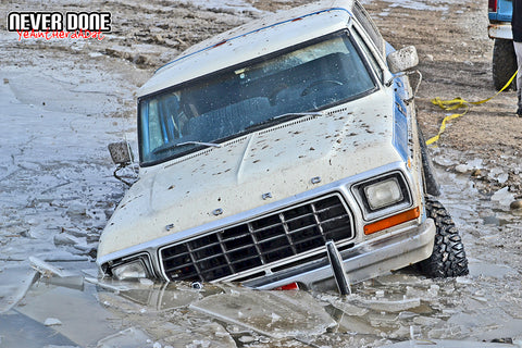 Ford bronco stuck in ice