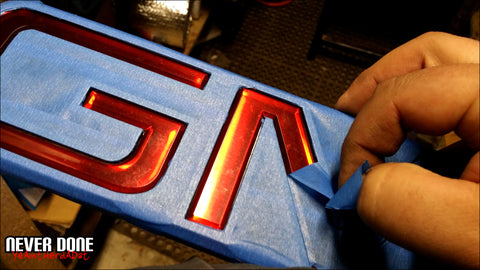 GMC emblem painting prep - Clint Grover - Never Done