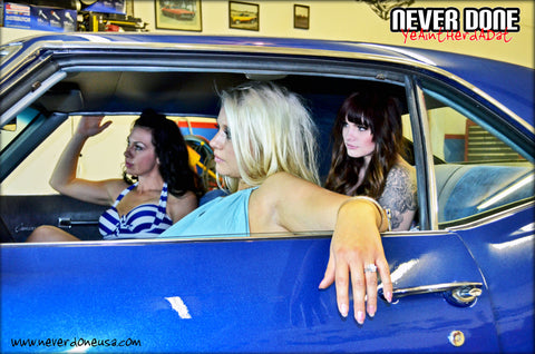 Never Done Girls Belinda, Brielle and Sharlie inside a beautiful blue 67 Camaro