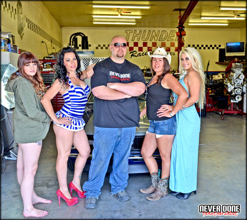 Clint Grover with Never Done Girls Brielle, Sharlie, Jessie and Belinda
