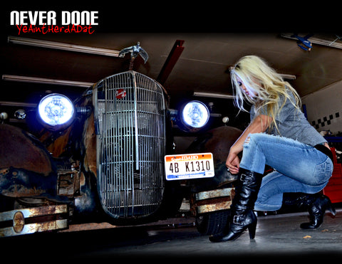 Incredibly hot blonde Never Done Girl Belinda with Clint Grovers crazy rat rod buick