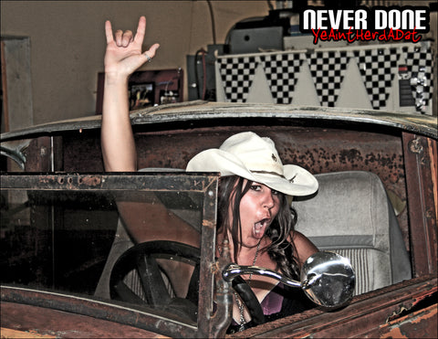Never Done Girl Jessie being a woo girl in Clint Grovers rat rod