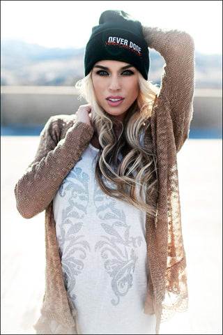 Never Done beanie on model Kasey Marcum