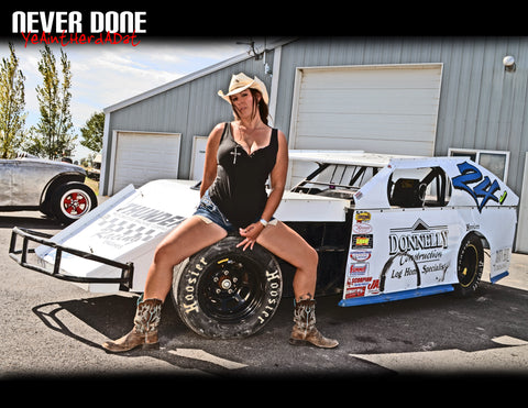Never Done Girl Jessie on the Hoosier tire of an IMCA dirt race car