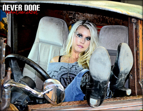 Never Done Girl Belinda inside a 1938 Buick Rat Rod Pickup