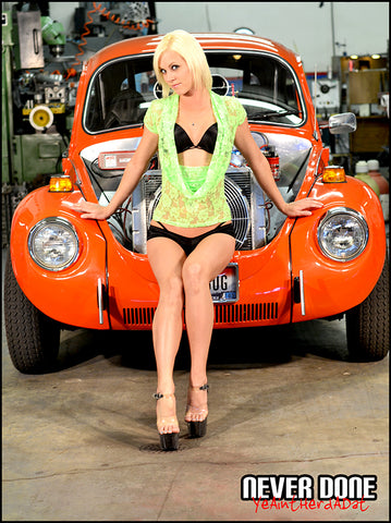 Never Done Girl Samantha with front engine sbc VW bug
