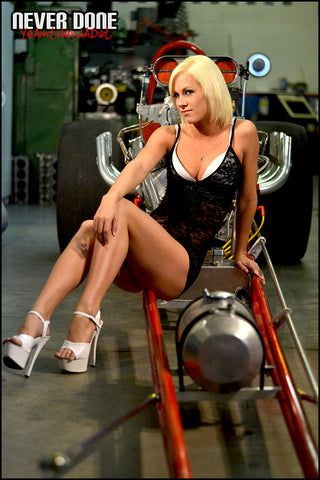 Never Done Girl Samantha on a nostalgia dragster