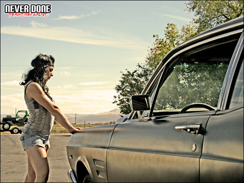 Never Done Girl Sharlie with a 67 Ford Falcon