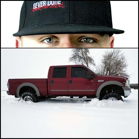 Clint Grover with a Ford Super Duty stuck in the snow