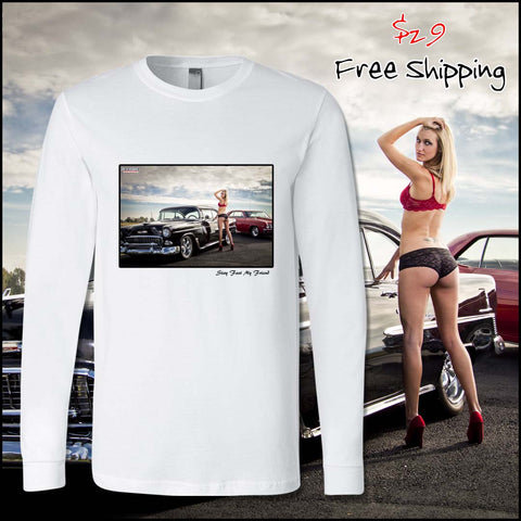 automotive fashion shirt with photo of blonde model and 2 american muscle cars