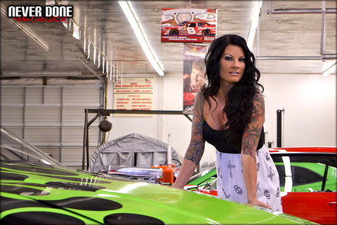 Tattooed Never Done Girl Tasia with a late model circle track race car
