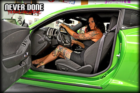 Never Done Girl Tasia in a Synergy Green camaro