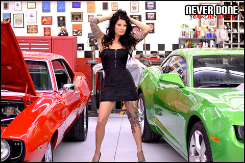 Never Done Girl Tasia tattooed with Supercharged Big Block 1968 Camaro and 2012 Synergy Green Camaro