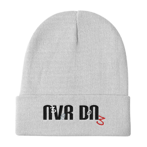 White Never Done Knit Beanie with Super Clean logo