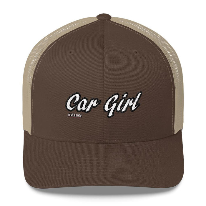 Brown and Khaki Car Girl Trucker Hat - Never Done