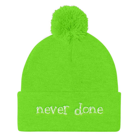Cute Neon Green Pom Pom Never Done Beanie