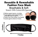 3PK Reusable Cotton Black Face Mask - 144M2173