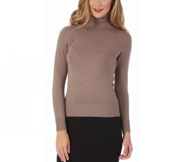 LaMonir Turtleneck Sweater with Ribbed Cuffs and Hem 153568