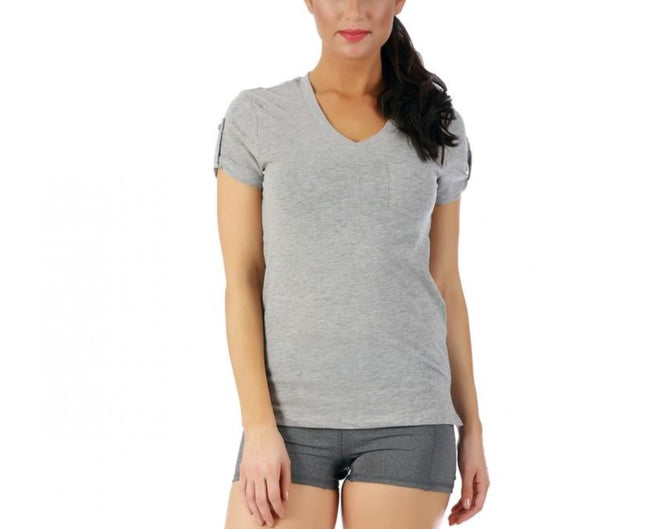 LaMonir Short Sleeve V-Neck Tee with Pocket 153600