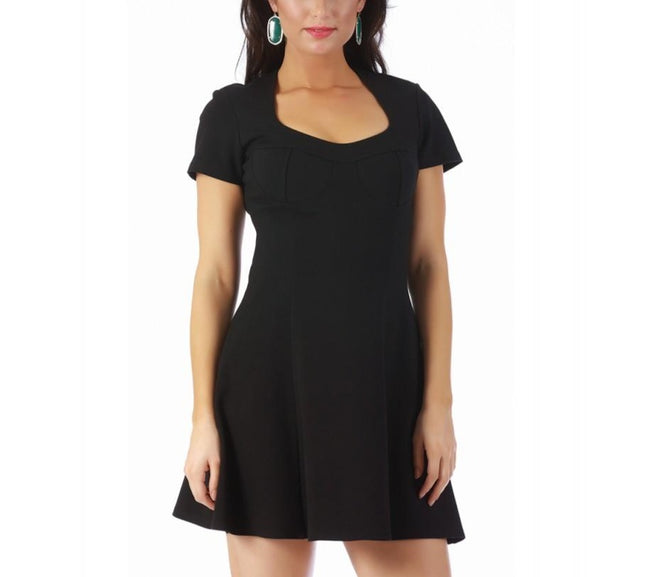 LaMonir Short dress w/cap Sleeves fit flair bodice 168001