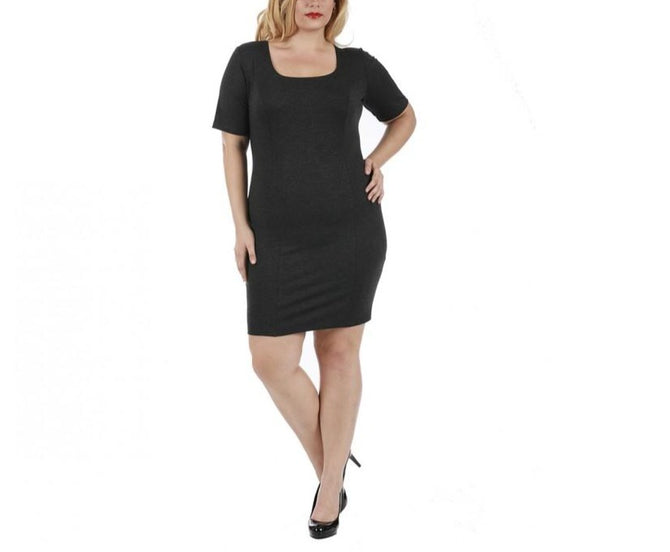LaMonir Curvy Short Dress with Square-neck and Short Sleeves 168027C