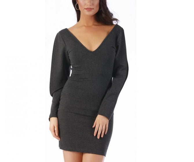 LaMonir Short dress w/slit long sleeves 168247