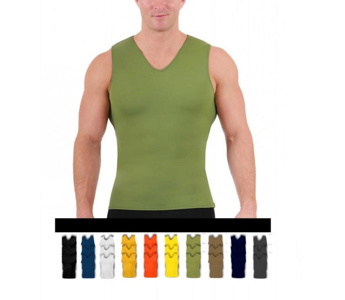 3 Pack I.S.PRO USA Compression Men's Sleeveless V-Neck Tank Top 2VAT0N13