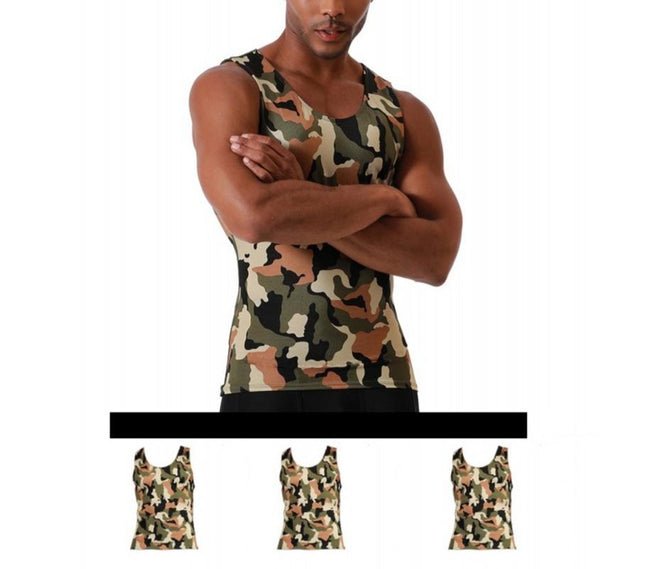 3-Pack I.S.PRO USA Compression Athletic Performance Camouflage Muscle Tank - 3MAT0013